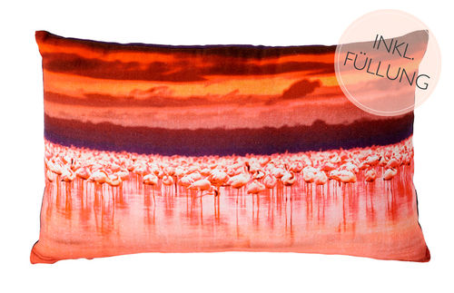 DEKO KISSEN FLAMINGO 30X50 ROT ORANGE