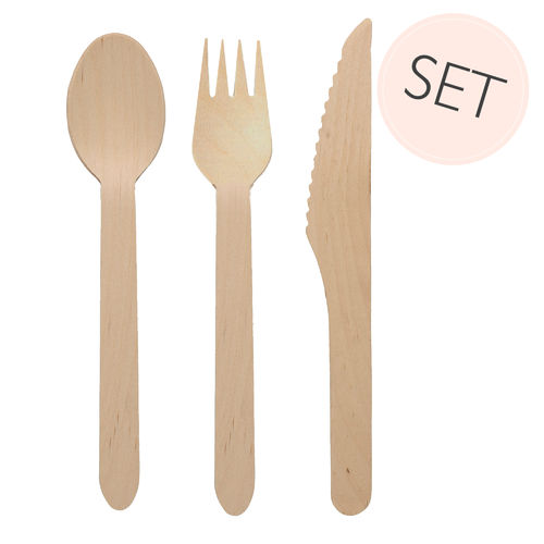 PICKNICK HOLZ BESTECK SET