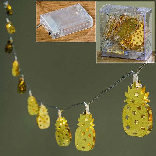 LICHTERKETTE LED ANANAS GOLD