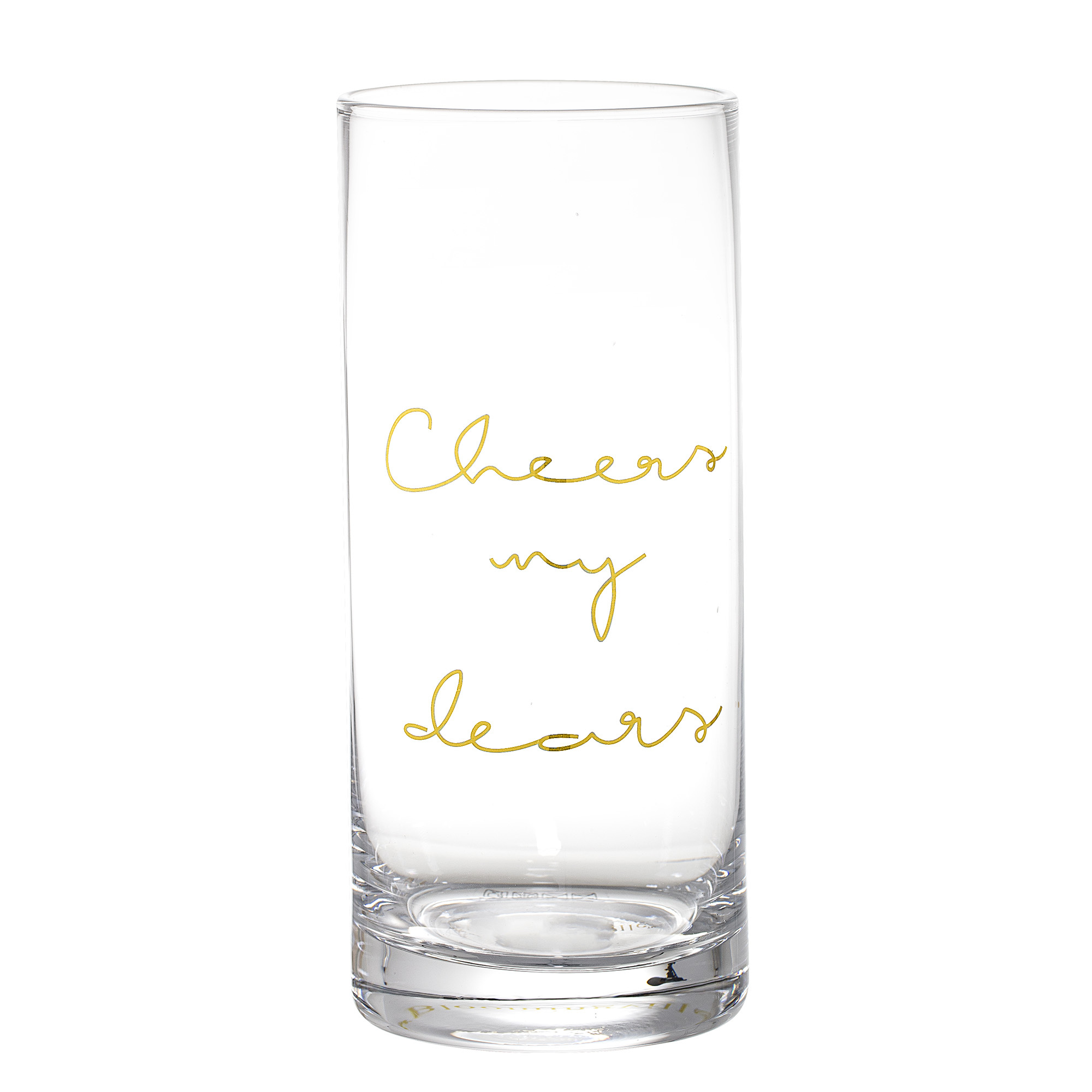 Trinkglas_Longdrink_Glas_Gold_Aufschrift_Cheers_my_dears_Bloomingville